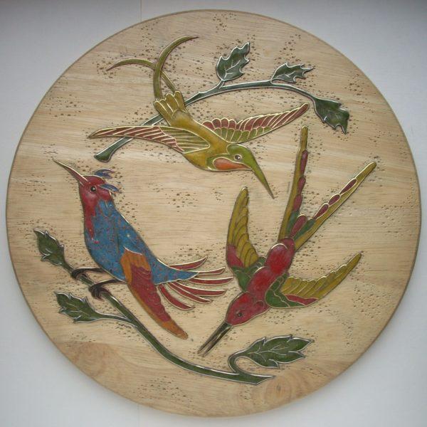 панно инкрустированное с птицами