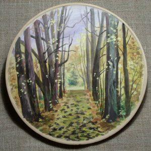 декоративная тарелка осенний лес