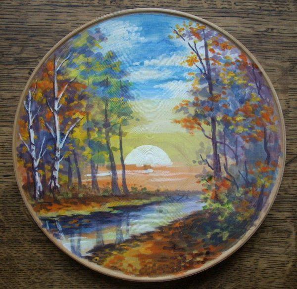 декоративная тарелка вечерний пейзаж