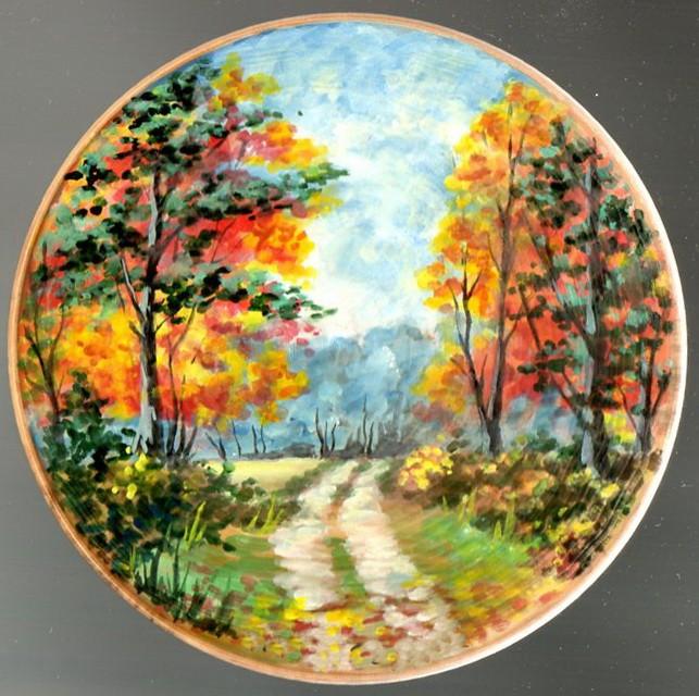 декоративная тарелка осенний пейзаж