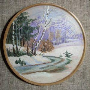 декоративная тарелка зима