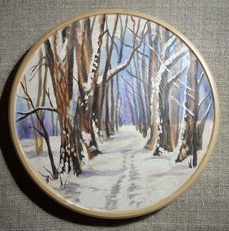 декоративная тарелка зимний лес