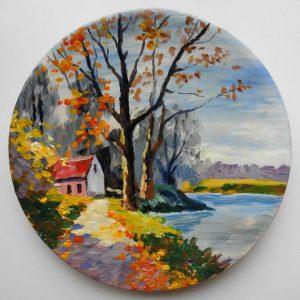декоративная тарелка пейзаж с озером