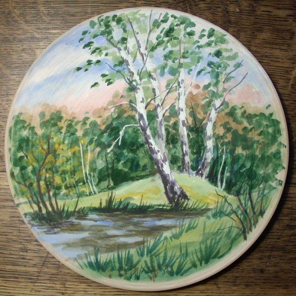 декоративная тарелка берёзы