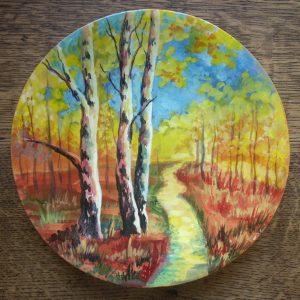 декоративная тарелка пейзаж с берёзами