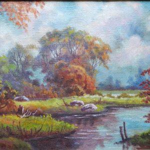 картина маслом озеро и лес