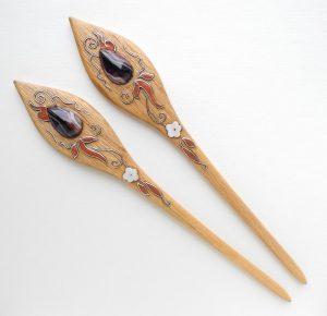шпильки из дерева для волос с инкрустацией агатом