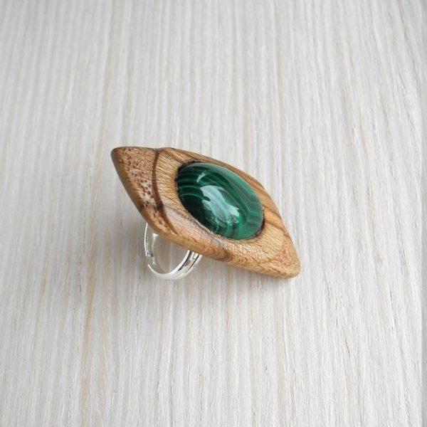 кольцо безразмерное с малахитом